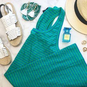 J. Crew Green & Blue Striped Tank Dress